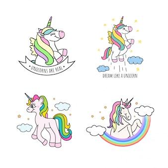 Conjunto de lindos unicornios dibujados a mano
