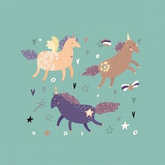 Conjunto de lindos unicornios de hadas. elementos mágicos colección para niños. ilustración