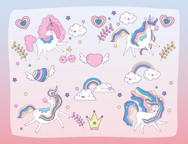Conjunto de lindos unicornios y recursos gráficos,