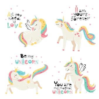 Conjunto de lindos unicornios