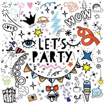 Conjunto de línea de bosquejo de doodle dibujado a mano de fiesta