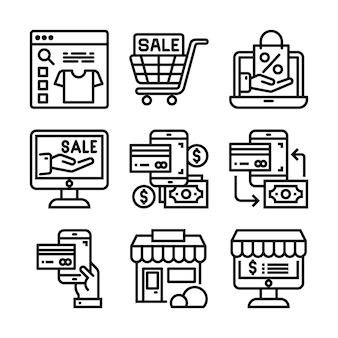 Conjunto de línea fina negra de icono de comercio electrónico