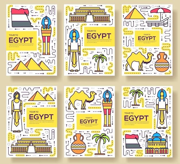 Conjunto de línea fina de tarjeta de folleto de vector de guía de vacaciones de viaje de egipto