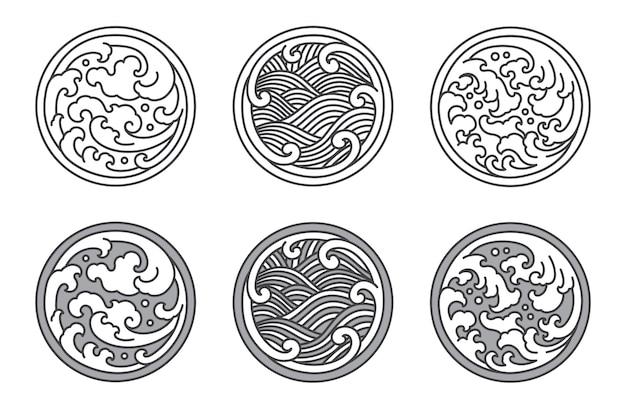 Conjunto de línea de onda de agua japonesa y tailandesa y china.
