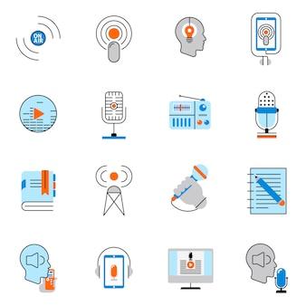 Conjunto de línea plana de iconos de podcast