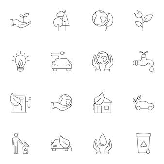 Conjunto de línea simple de iconos de ecología.