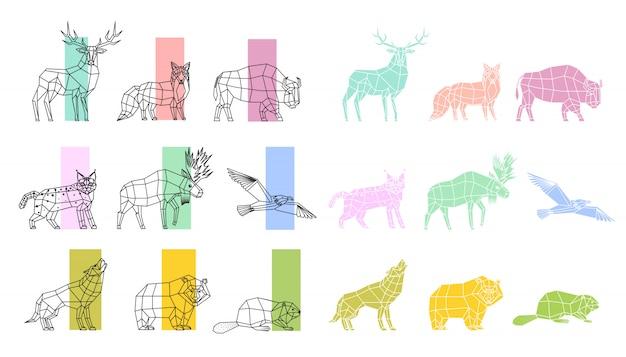 Conjunto lineal de animales poligonal