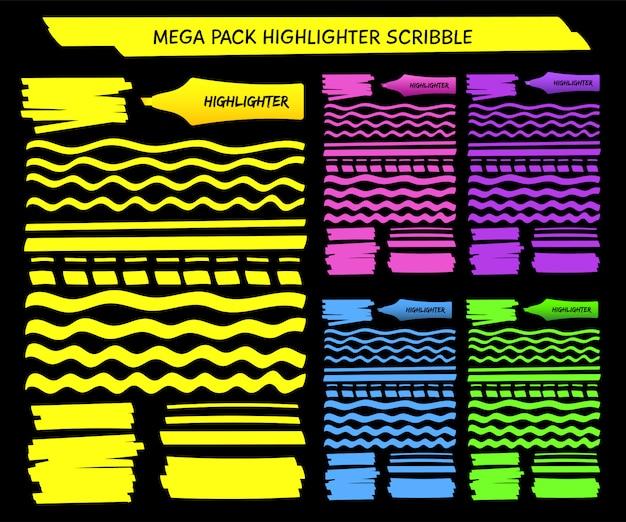 Conjunto de líneas dibujadas a mano de lápiz resaltador amarillo
