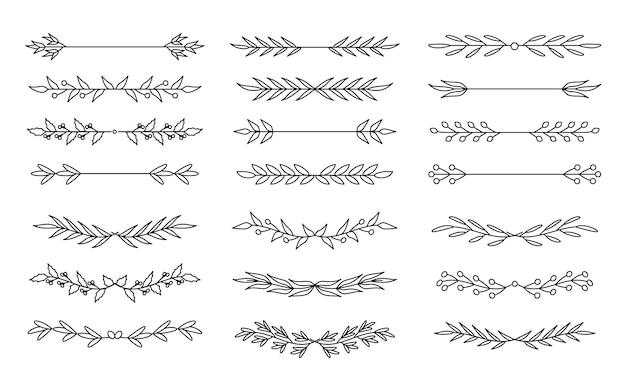 Conjunto de líneas divisorias florales.
