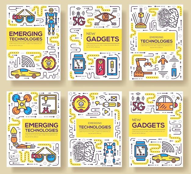 Conjunto de líneas finas de tarjetas de tecnología. plantilla de automatización de flyear, revistas, carteles, libros, pancartas.