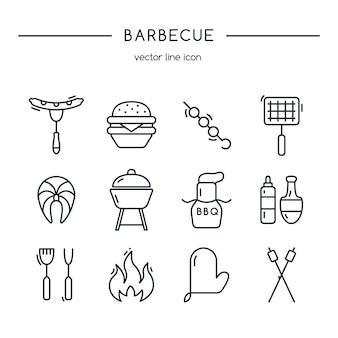 Conjunto de líneas de iconos de barbacoa