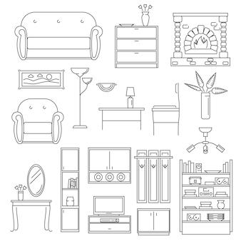 Conjunto de líneas de iconos interiores