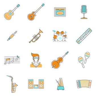 Conjunto de líneas de iconos de música
