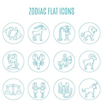 Conjunto de líneas de iconos del zodiaco