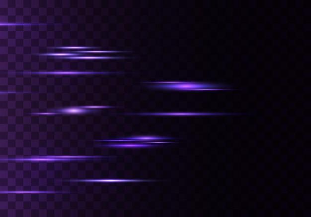 Conjunto de líneas de lentes de rayos horizontales de color rayos láser azul púrpura luminoso abstracto brillante rayado fondo transparente efecto de destellos de luz vector