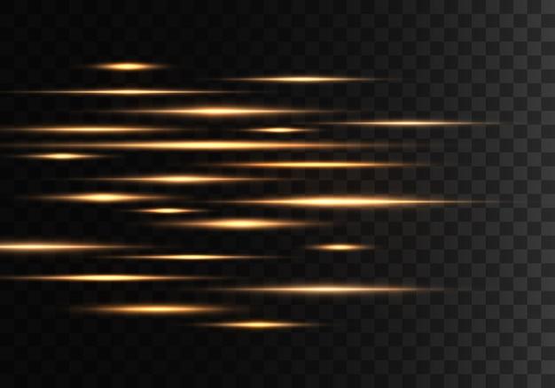 Conjunto de líneas de lentes de rayos horizontales de color rayos láser resumen luminoso de oro amarillo brillante rayado sobre un fondo transparente efecto de destellos de luz vector