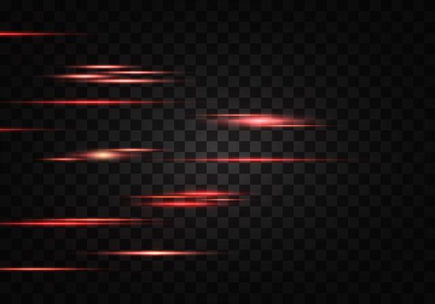 Conjunto de líneas de lentes de rayos horizontales de color rayos láser resumen luminoso rojo anaranjado brillante rayado sobre un fondo transparente efecto de destellos de luz vector