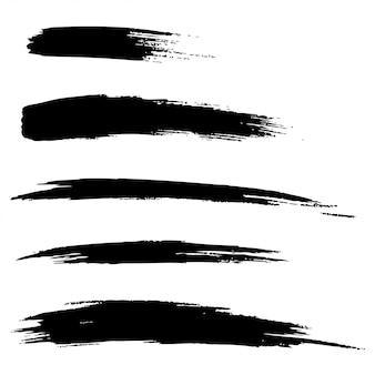 Conjunto de líneas de pincel grunge dibujado a mano, ilustración