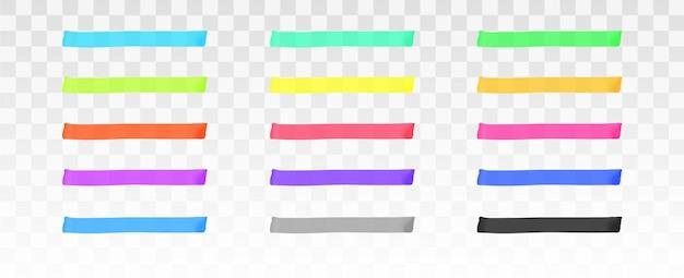Conjunto de líneas de resaltador de color conjunto de plantillas aisladas