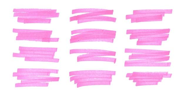Conjunto de líneas de trazo de marcador resaltador rosa