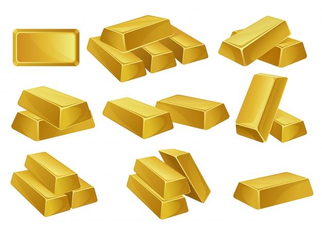 Conjunto de lingotes de oro, negocios bancarios, prosperidad, símbolos del tesoro ilustraciones sobre un fondo blanco.