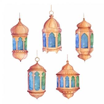 Conjunto de linterna árabe acuarela