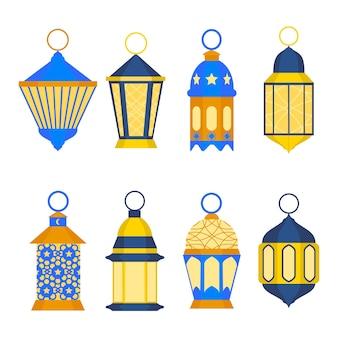 Conjunto de linternas de ramadán. tradición religiosa oriental.