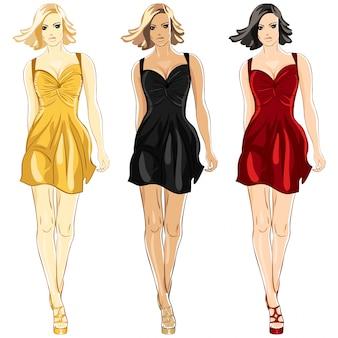 Conjunto de little dress negro, rojo y dorado.