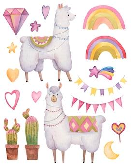 Conjunto de llama y alpaca y decoración, corazones del arco iris, cactus y diamantes sobre un fondo blanco.