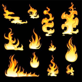 Conjunto de llama de fuego de dibujos animados