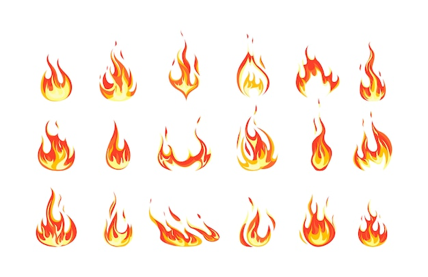 Conjunto de llama de fuego rojo y naranja. colección de elemento ardiente caliente. idea de energía y poder. ilustración