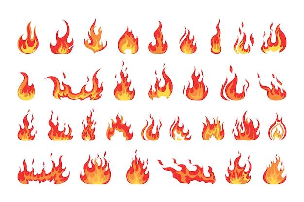 Conjunto de llama de fuego rojo y naranja