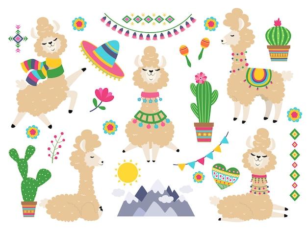Conjunto de llama. llamas de dibujos animados de alpaca, lama salvaje. elementos de invitación de niña