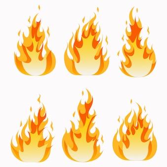 Conjunto de llamas de fuego y efecto de luz de línea.