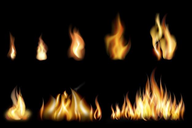 Conjunto de llamas de fuego realistas de varios tamaños.