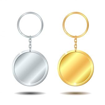 Conjunto de llaveros metálicos de plantilla círculo dorado y plateado