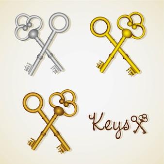 Conjunto de llaves antiguas de oro y plata.
