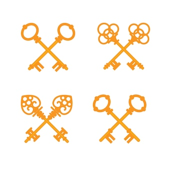 Conjunto de llaves doradas vintage cruzados