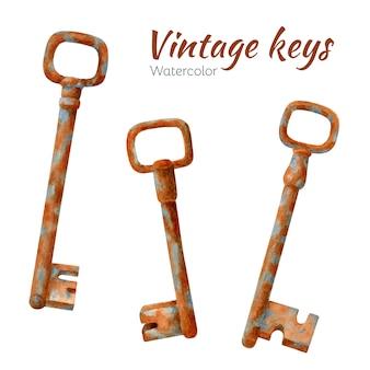 Conjunto de llaves oxidadas viejas acuarelas