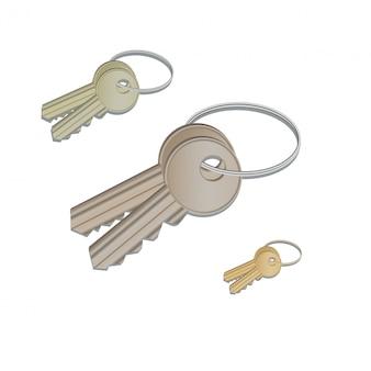 Conjunto de llaves realistas que cuelgan en el anillo aislado en blanco