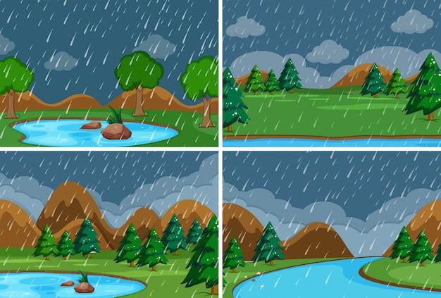 Conjunto de lloviendo en el parque.