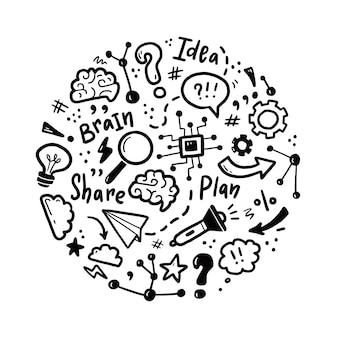 Conjunto de lluvia de ideas, idea, elementos cerebrales dibujados a mano
