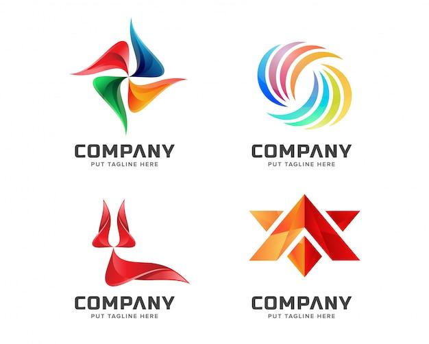 Conjunto de logo abstracto creativo