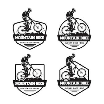 Conjunto de logo de bicicleta de montaña