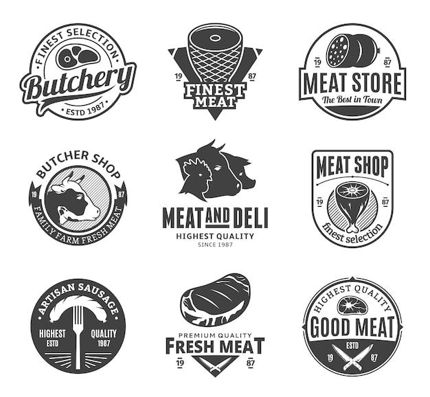 Conjunto de logo blanco y negro de carnicería