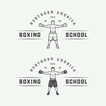 Conjunto de logo de boxeo retro