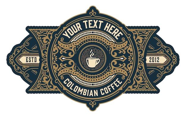 Conjunto de logo de café vintage con adornos barrocos