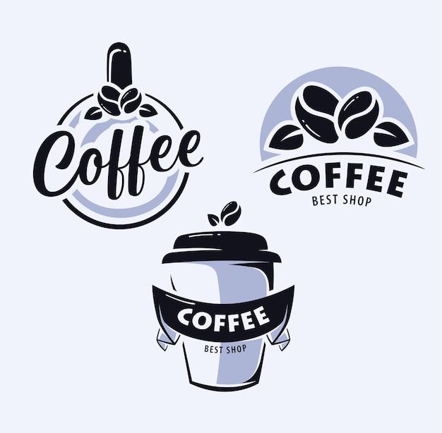 Conjunto de logo de café