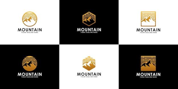Conjunto del logo de la cima de las montañas.