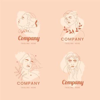 Conjunto de logo de cosmética natural.